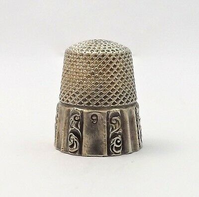 Antique Ketcham McDougal Sterling Silver Sewing Thimble Sz 9