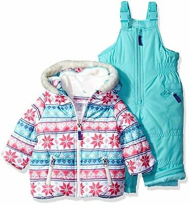 Carter's Girls Pink & Turquoise Snowflake 2pc Snowsuit Size 2T 3T 4T 4 5/6 6X