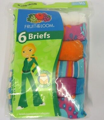 6 Pack of Fruit of the Loom Girls' Cotton Briefs in Multi Color - 10