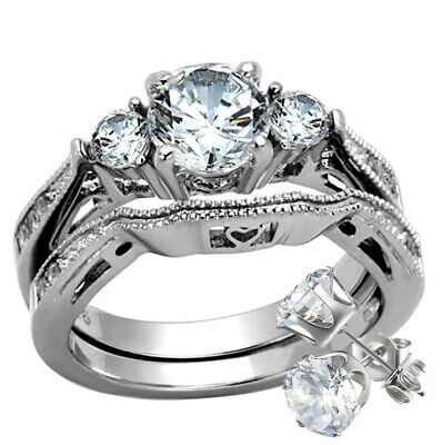 2.50 Ct Round Cut AAA CZ Stainless Steel Wedding Band Ring Set Women's + Stud
