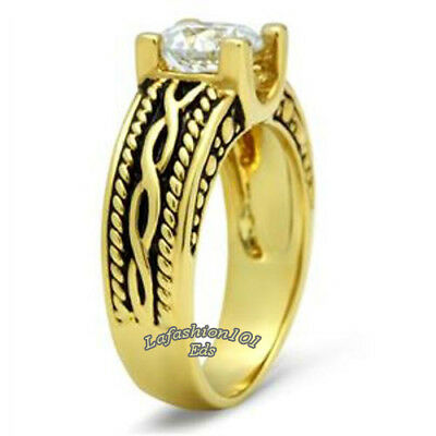 1.2 Ct Round CZ Womens Antique Style 14K Gold Plated Marriage Promise Ring