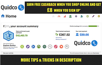 Get £8 For Quidco Sign Up + Money Back For Your Shopping