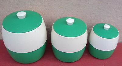 Vintage Retro 60s Green and White Plastic Canister Set x 3