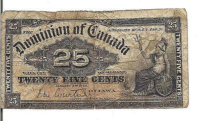 DOMINION of CANADA, 25 CENTS,  1900 , out of register ERROR