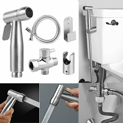 Handheld Bidet Spray Shower Shattaf Toilet Adapter Kit Hose Holder Bracket Set