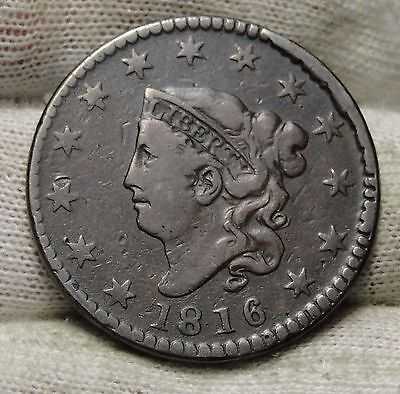 1816 Penny Coronet Large Cent - Nice Coin, Free Shipping  (5548)