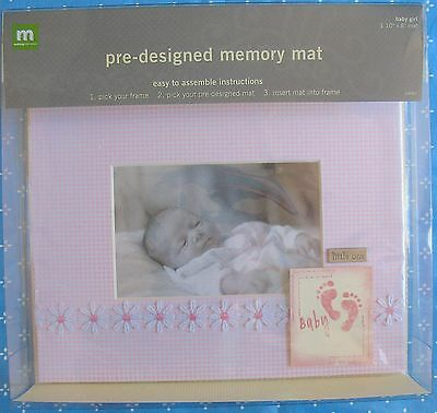 MAKING MEMORIES MEMORY MAT Little One BABY PINK W/ FLORAL LACE PHOTE FRAME MAT