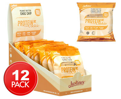 12 x Justine's Complete Protein Cookie Peanut Butter Choc Chip 64g
