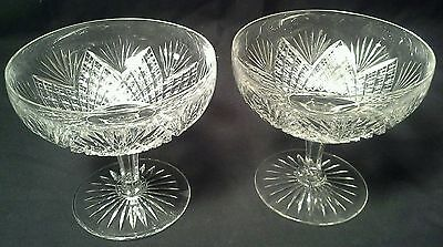 Antique Pair Of American Brilliant Hawkes Cut Glass Compotes