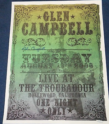 Glen Campbell Signed Lithograph Poster