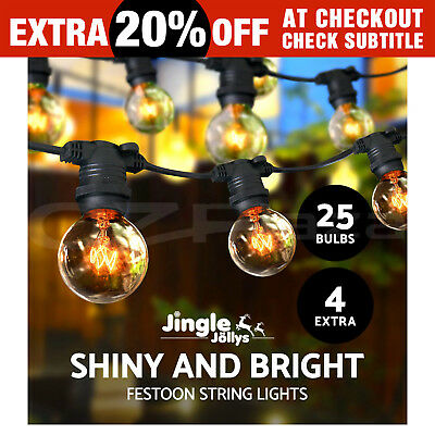 Jingle Jollys 20m Festoon String Lights Kits Wedding Party Christmas Outdoor