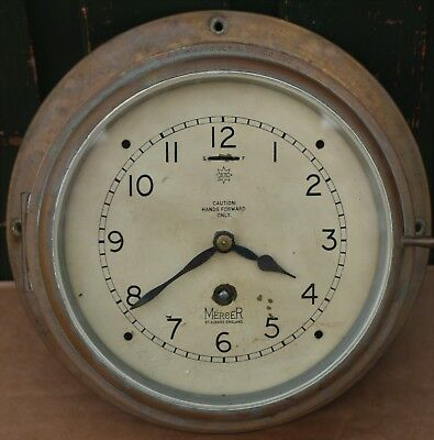 Old Brass Cased Mercer Of St. Albans Ships Bulkhead Type Clock