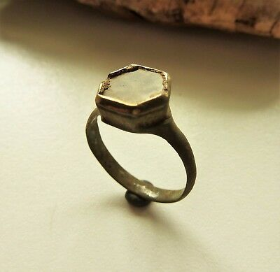 Medieval bronze ring with glass insert (392).