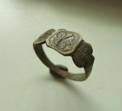 Post-medieval bronze ring with initials (187).