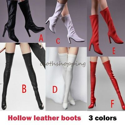 1/6 Female Leather Long Boots High Heels Shoes Figure Model F 12'' Hot Toys 17XZ