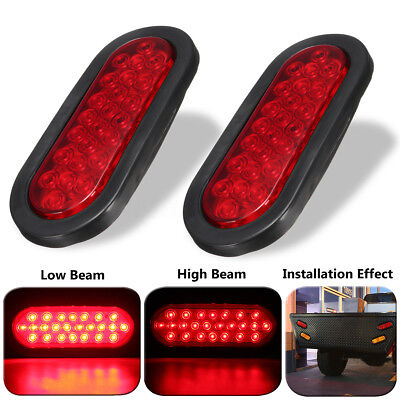 2x 6'' Red 24 LED Oval Truck Trailer Bus Stop Turn Tail Brake Light Rubber Mount