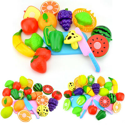 18/15/12Pcs Kids Pretend Role Play Fruit Vegetable Toys Cutting Toy Set Classic