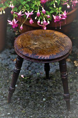 Poker work stool Pyrography seat chair Victorian / Edwardian Flowers Antique