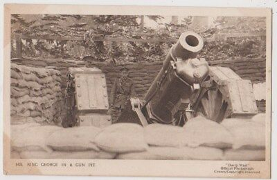 Early Postcard, Military Soldiers, King George In A Gun Pit,
