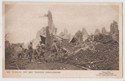 Early Postcard, Military Soldiers, Clearing The Way Through Contalmaison,