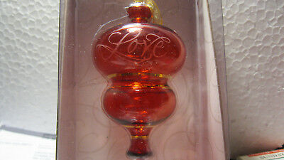 """2002 Hallmark PERFECT HARMONY """"LOVE"""" RED Etched Glass"""
