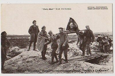 Early Postcard,Military Soldiers, Wounded Tommy To Photographer I`m Not A German