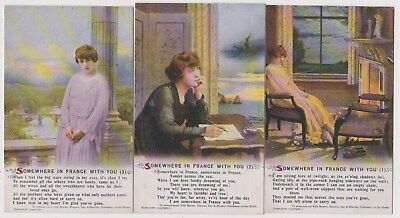 Early Postcard,Military Soldiers,Somewhere In France With You,Set Of 3 Bamforth