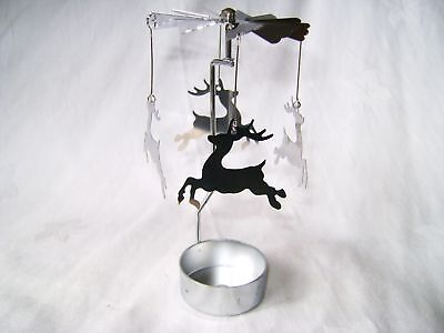 New Metal Reindeer Christmas Tree Tea Light Spinning Candle Holder Xspin07