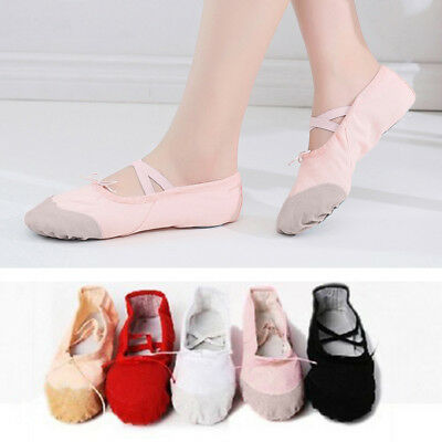 KQ_ Child Adult Canvas Ballet Dance Shoes Slippers Pointe Dance Gymnastics Delux