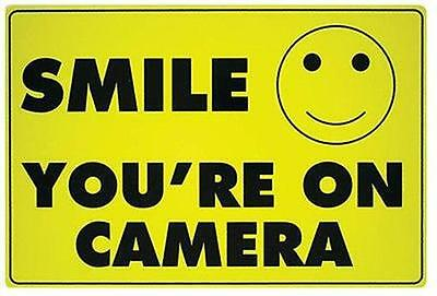 (10) Smile You're on Camera Yellow Business Security Sign Video Surveillance