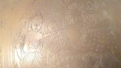 "Vintage 13.25"" diam Brass Serving Tray w/ Pyramids Egyptian Mythical Animals Man"