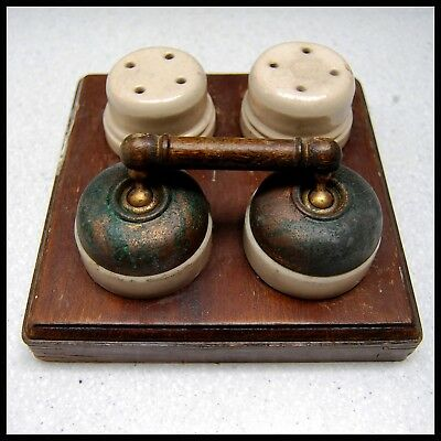 Vintage Industrial Brass Double Power Toggle Light Switch Ceramic Steampunk Old