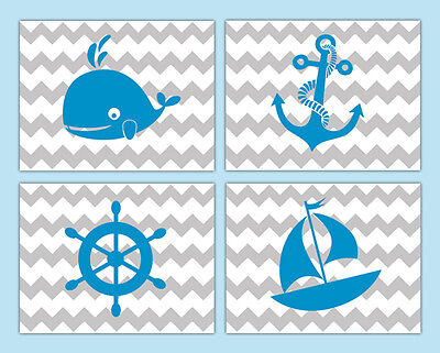 Nautical Nursery Prints Decor Baby Boy Wall Art Chevron Blue Gray Sailboat Whale