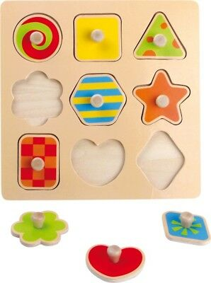 9 x Wooden Shape Sorter Blocks Jigsaw Puzzle Children Kids Motor Skills Toy
