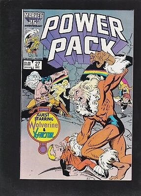 Power Pack #27 Mutant Massacre Tie In! Wolverine X-Factor and Sabretooth App!