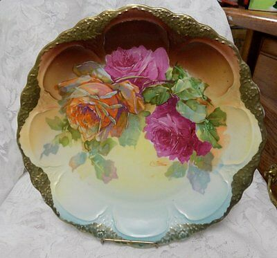 """Antique Porcelain Plate/charger~Hand Painted, Artist Signed~Roses~11.5"""""""