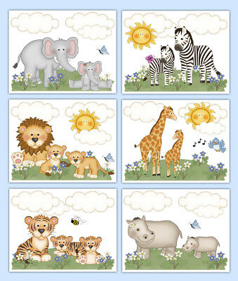 Safari Nursery Prints Wall Art Jungle Animal Room Decor Baby Girl Shower Gift