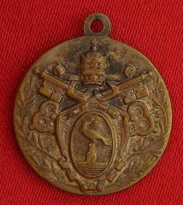 VINTAGE POPE PIUS XII MEDAL Religious POPE PIUS XII COAT OF ARMS CREST Medal