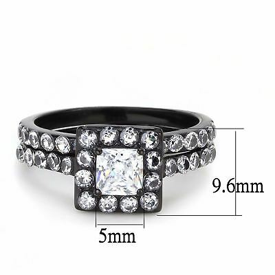 Womens 5x5mm Princess CZ Center Black plated Stainless Steel Wedding Ring Set