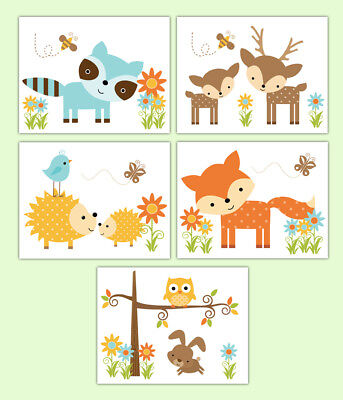 Woodland Nursery Prints Wall Art Forest Animal Baby Shower Deer Fox Owl Hedgehog