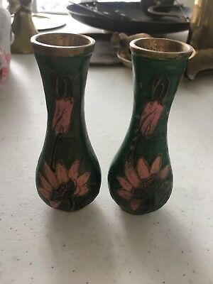 Vintage Brass Enameled Cloisonné Floral Flower 2 Small Vases Heavy ADORABLE!