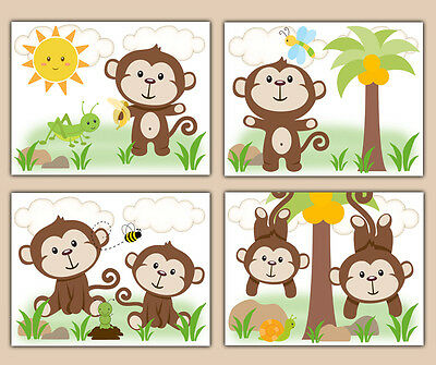 Monkey Baby Boy Nursery Prints Wall Art Decor Safari Jungle Animal Kids Room