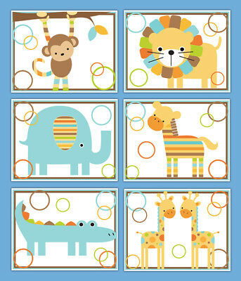 Safari Animal Nursery Prints Wall Art Baby Boy Jungle Elephant Monkey Giraffe