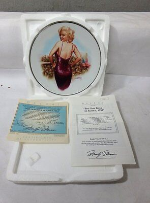 "MINT IN BOX Marilyn Monroe Delphi Plate ""FOR OUR BOYS IN KOREA, 1954"" WITH COA"