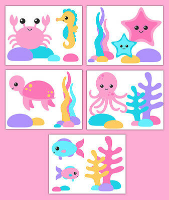 Sea Life Nursery Wall Art Prints Pink Purple Girl Ocean Creature Animal Decor