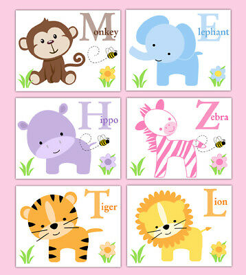 Safari Animal Prints Wall Art Baby Girl Jungle Nursery Alphabet Abc Letter Decor