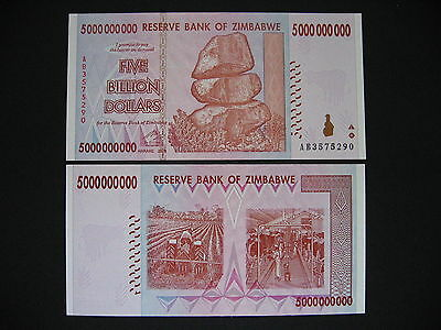 ZIMBABWE  5 Billion Dollars 2008  (P84)  UNC