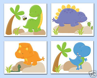 Dinosaur Nursery Prints Wall Art Baby Boy Neutral T-Rex Dino Kids Room Decor