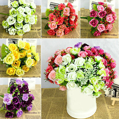 KQ_ Fake Rose Flowers Bouquet Artificial Floral Plant Wedding Decor 21 Heads Nov