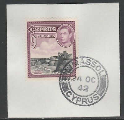 Cyprus 5519 - 1938 KG6 9pi on piece with MADAME JOSEPH FORGED POSTMARK